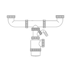 Sifon doble botella -  extensible - toma lavavajillas