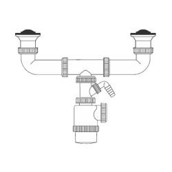 Sifon doble botella - extensible - v70 - con toma lavavajillas