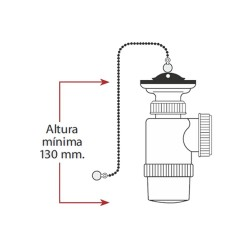 Mini sifon botella - extensible - v70 - con cadena y tapon