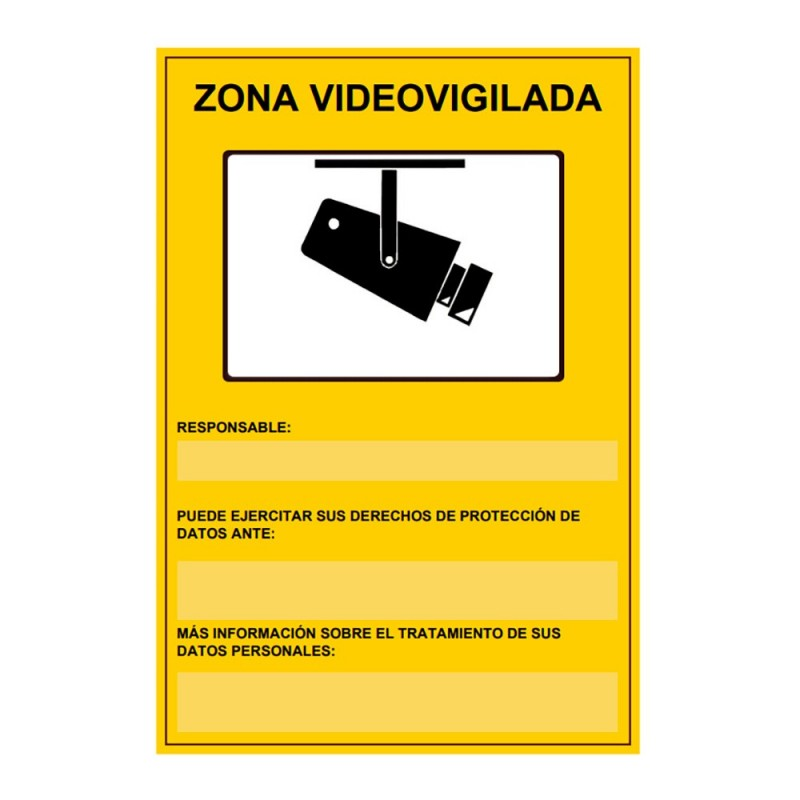Cartel zona videovigilada 21x29cm homologado